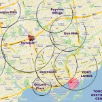 "Incredibly incorrect map of ""Destination Centres"" in Toronto"