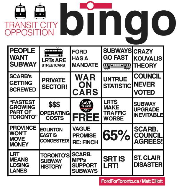Transit City Opponent Bingo